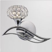 Leimo Left Facing Wall Light in Polished Chrome and Crystal, Switched - DIYAS IL30951/L